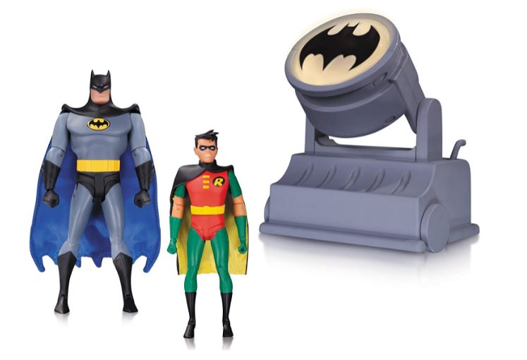 DC Collectibles BATMAN THE ANIMATED SERIES: BATMAN & ROBIN ACTION FIGURES WITH BAT-SIGNAL