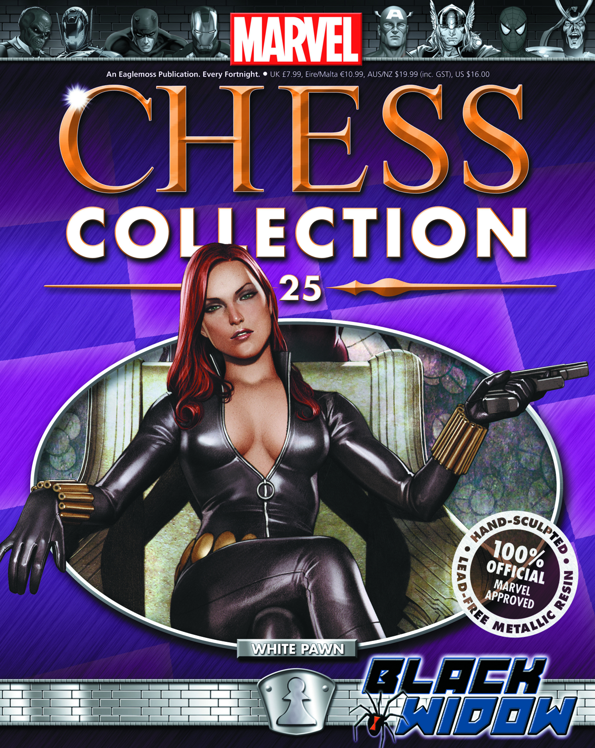 MARVEL CHESS FIG COLL MAG #25 BLACK WIDOW WHITE PAWN